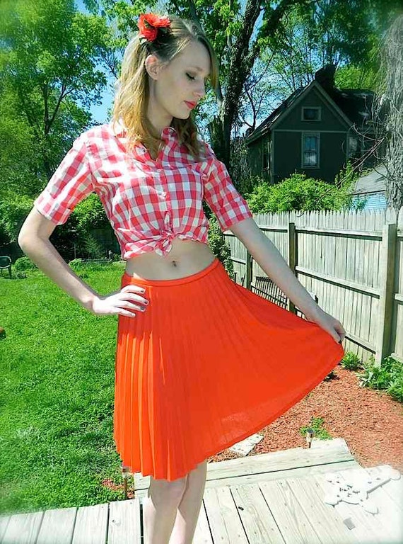 Vintage skirt 50s 60s RED Circle Skirt M L XL on sale
