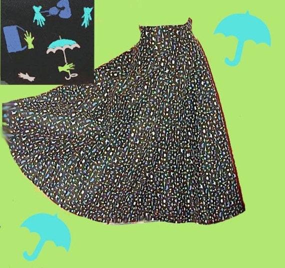 Vintage 50s High Wasp Waist Circle Skirt Killer Novelty Print umbrella handbags gloves S