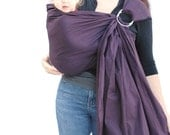 Ring Sling Baby Carrier Plum Purple Baby Basics extra Superwide pleated - READY TO SHIP in Standard or Petite length only