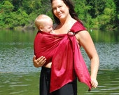 Ring Sling Baby Carrier Water Mesh Burgundy for Pools, Beach Vacation, Shower - MADE TO ORDER