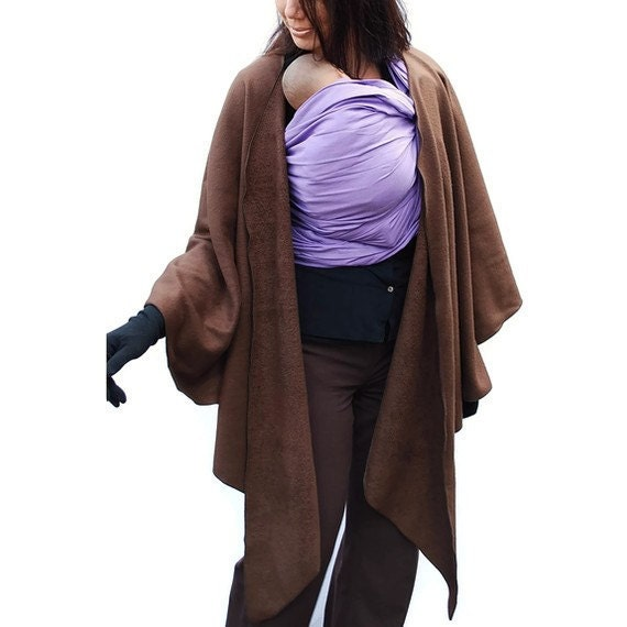 Maternity Coat Fleece Poncho Jacket Babywearing Wrapping Poncho Cocoa Brown - several colors in shop - MADE TO ORDER
