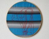 Anita -- pinup art, embroidery, original art, pin-up, kitsch, feminist, erotica, framed, round, stripes -- 100 Ladies #045
