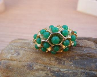 Green Bead Ring Adjustable Ocean Bee Hive