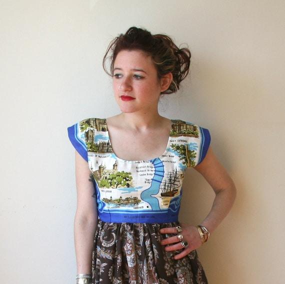SALE London Bridge Paisley Brown Dress Sz XS