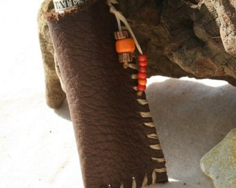 Handmade Brown Leather Pouch or Medicine Bag, for Cash, Love Notes or Other Treasures
