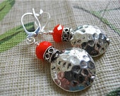 Fall Silver Earrings, Faceted Orange Beaded Beauties, Gift for Her, Hot Orange Color, Antique Silver,