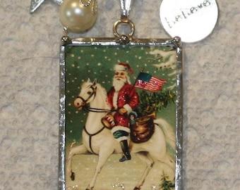 Patriotic Santa on Horseback, Uncle Sam Santa Reversible Vintage Postcard Necklace
