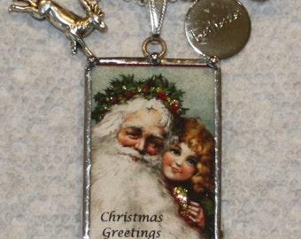 Christmas Santa & Child Vintage Postcard Charm Necklace