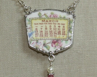 March 1921 Calendar Plate Broken China Jewelry Necklace with Month and Flowers