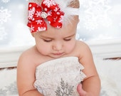Christmas Headband- Big Boutique Snowflake Feather Rhinestone Bow, baby girl headband ,Christmas Hair bow, holiday headband- photo prop