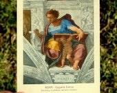 Michelangelo Daniel Postcard, Vintage Collectible Italian Post Card, Classic Art Fresco Crackle, Roma Cappella Sistina