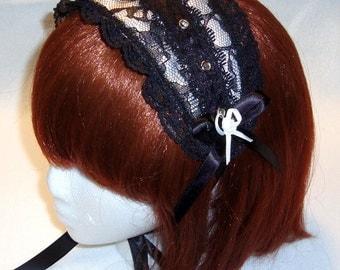 Black on White Gothic Lolita Headdress