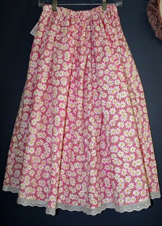 White & yellow daisies on pink background - modest girl's skirt - large