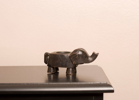 Antique Rustic Wooden Elephant Candle Holder