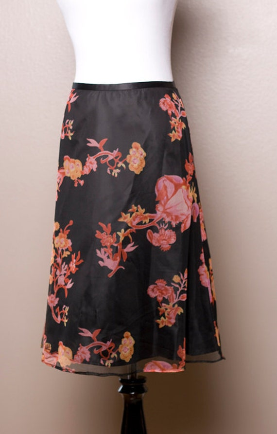 Retro Midnight Garden - Black Satin Skirt