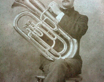 Antique Framed Photograph of Horn Player
