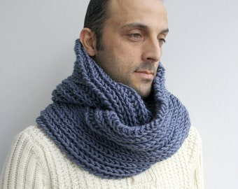 Infinity Loop Scarf Indigo Blue  For Man for women  and for MY DAD under 60 Fathers Day  Gift