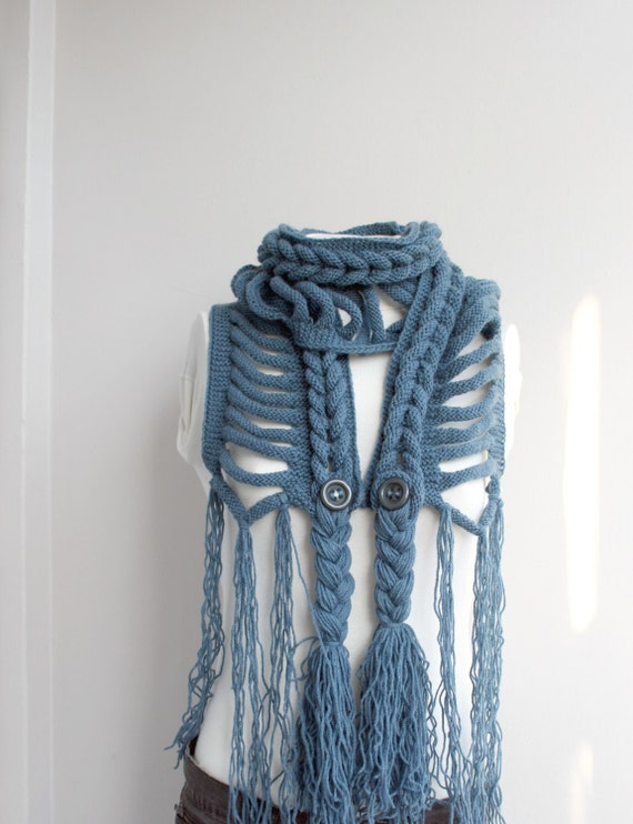 Hand Knit Blue Wool Scarf with Brown Button / Fall Knitted Shawl