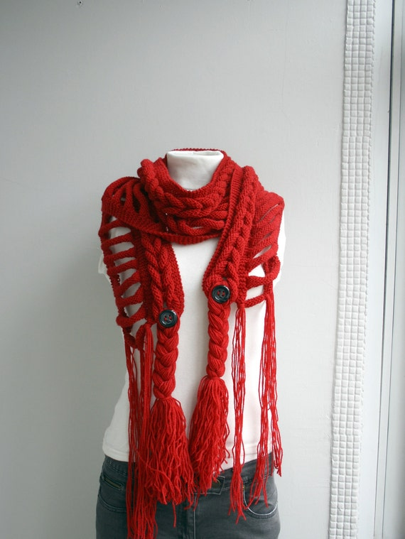 Dark Red Wool  Scarf with Black Button Christmas For Her Gift under Usd75