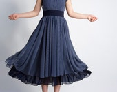 Blue dress dotted chiffon dress maxi dress prom dress wedding dress  (0054)