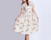 Floral Linen Tea Dress - Informal Flower Midi Dress with Scoop Neckline & Back Button Closure (139)