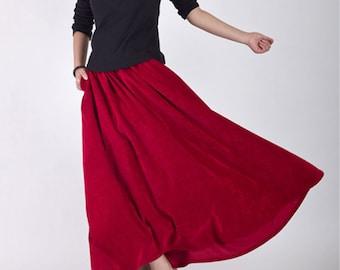 Classic Red maxi skirt - woman 's long circular skirt - vintage inspired pleated skirt - Custom made Corduroy skirt - spring skirt  (MMR35)