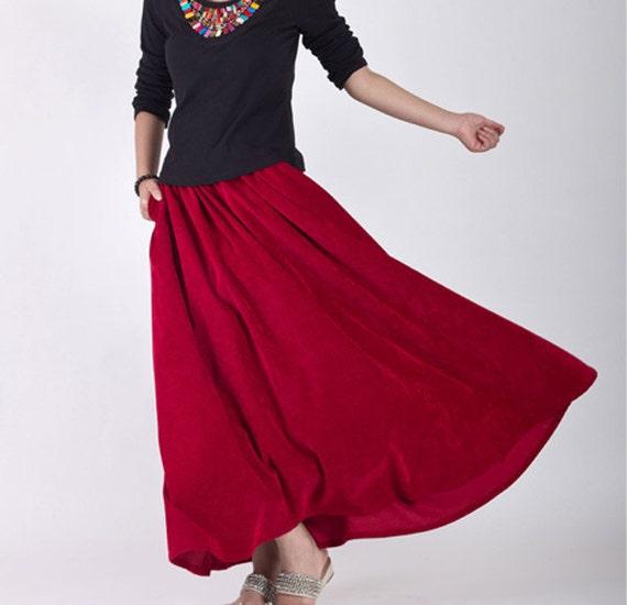 Classic Red maxi skirt woman 's long circular skirt