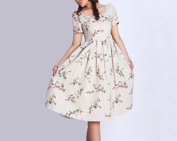bridesmaid dress,Floral dress, midi Dress, flower dress, print dress, vintage inspired dress, tea length dress,Custom dress, Linen dress 139