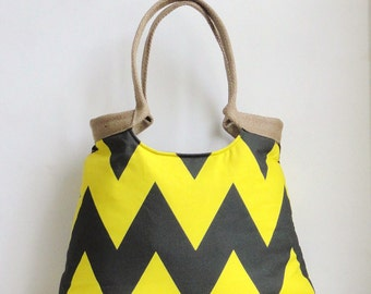 Neon yellow and grey chevron shoulderbag, handbag with burlap, Vegan bag