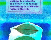 Everything is a miracle/Einstein art postcard