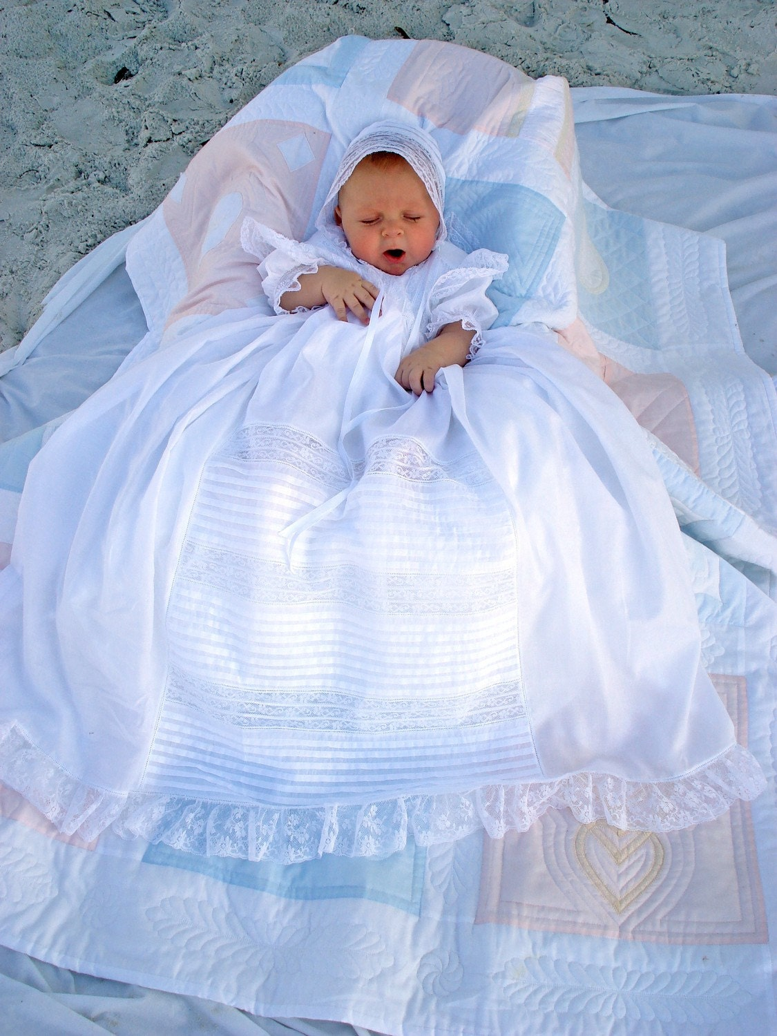 Lace And Tucks Baby Christening Gown