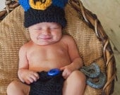 Crochet Police Officer Hat,Diaper and Handcuffs Pattern