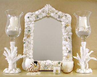 "Beach Decor Seashell Mirror - 18"" x 25"""
