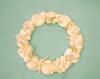 Beach Decor - Seashell Wreath with Coral and Starfish - seashells, sea shell, sea shells, shells