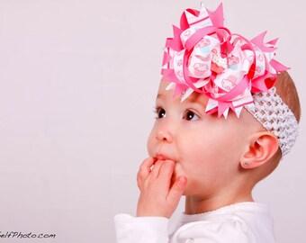 Pink Cupcake Hair Bow, 1st Birthday Cupcake Bow, Infant Headband, Newborn Headband, Baby Headband, Baby Shower Gift, Photo Prop, School Bow