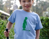 Perfect Putter Short Sleeved Nostalgic Graphic Tee in Sky Blue with Grass Green Free Shipping