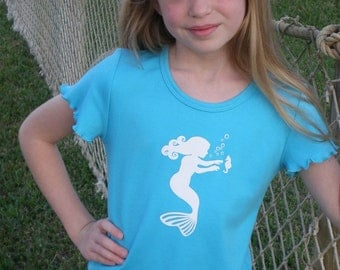 Bubbly Mermaid Short Sleeved Nostalgic Graphic Tee in Turquoise with White Free Shipping