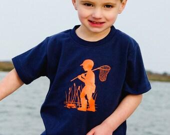 SALE 50% OFF Little Crabber Short Sleeved Nostalgic Graphic Tee in Navy with Orange