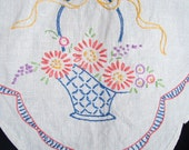 Free Shipping, Basket of Flowers Table Runner, Pink Blue and Yellow, Home Decor for Table or Dresser