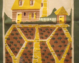 Free Shipping, Colonial Williamsburg Herb Garden Kitchen Tea Towel, Signed Emily, Green, Yellow, Brown, Mid Century