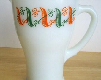 Retro Small Milk Glass Pitcher, Avocado Green and Orange, Termocrisa,  Cream or Juice,  RARE, Gifts Under 20, Decorative Housewares