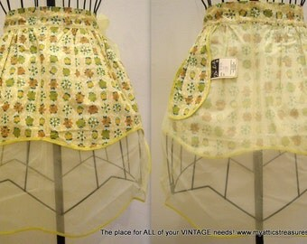 Free Shipping, Yellow Floral Print Hostess Apron, Avocado Green, Reversible, with Tag, Ladies Womens Half Apron,  All Purpose
