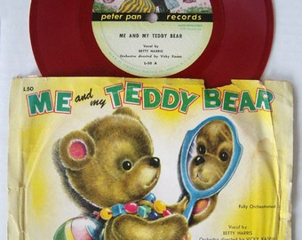 Me and My Teddy Bear 78 Record, Red Vinyl, Peter Pan Records L-50, Rare Childrens Records