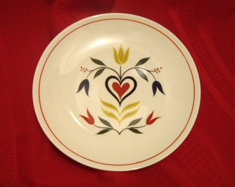 Homer Laughlin Bread Plate, American Provincial, 1951, Red Heart, Yellow Red Tulips, Amish Penn Dutch
