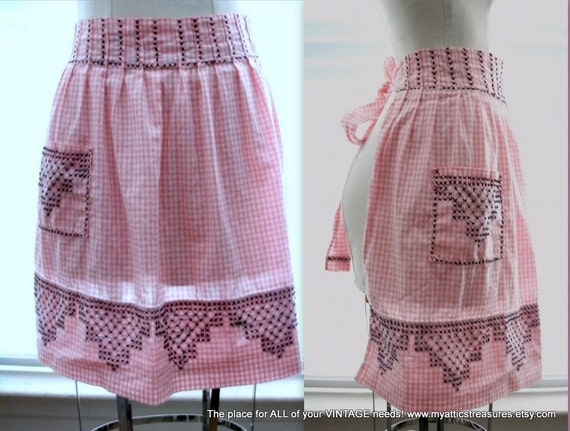 Pink and White Checked Hostess Half Apron with Black Cross Stitch, Farmhouse Chic