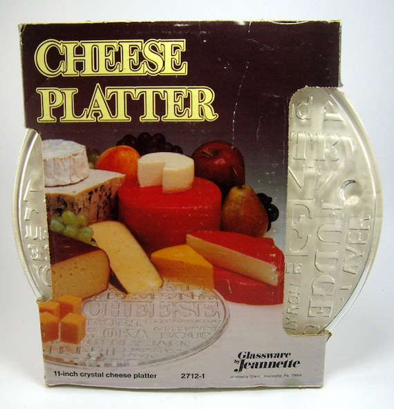 RESERVED for Maureen Vintage Cheese Serving Platter, Cheese and Cracker Plate, Jeannette Glass, Entertaining, Party Plate, Hors D'Oeuvres