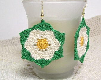 Flower Earrings Crochet Jewelry Unique Ivory Yellow Green Doily Motif Dangle Fashion Accessory Handmade by Lilena