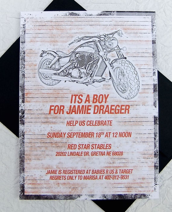 baby shower invitation orange and black boy baby harley davidson