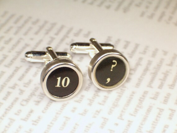 Typewriter Key Cuff Links Cufflinks With Number and Question Mark - Typewriter Jewelry By Haute Keys