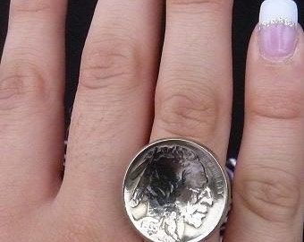 Coin Ring Vintage Buffalo Nickle Sterling Silver Band